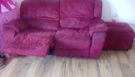 Red recliner 2 seater an one seater an storage poof