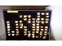 Show case of approx 60 mens andladies gold plated dress rings.