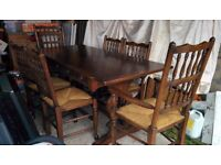 Solid Wood Dining Table And 6 Chairs In Good Condition