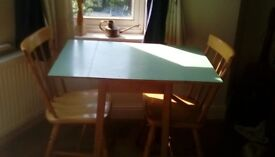 Retro dining table and 2 chairs