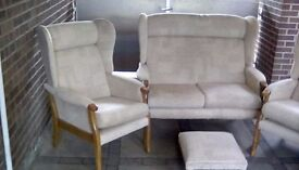 JC and MP Smith Newbury Wing sofa, chairs and footstool