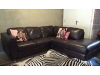 CAN DELIVER- Modern L-shape Corner Brown Leather Sofa