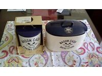 mason cash bread bin with cookie tin + apron and cookie cutters