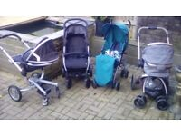 Like new. With cosy toes and rain covers. Seats ect. Silvercross surf. Mothercare orb. Mamas &Papas