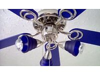 Blue ceiling light and fan. Very good condition. Collection Bradwell. £25.