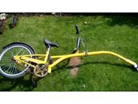 Yellow Trailer Bike Tag A Long (Like piggyback) with attachment