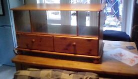TV unit, pine timber with 2 draws, approx 3.5 ft x 1.5ft