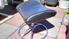 Black and chrome leather footstool £5