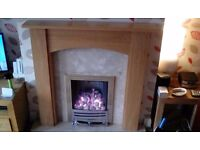 Gas fire chrome with hearth, backplate and oak effect surround