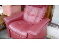 Leather swivel recliner armchair