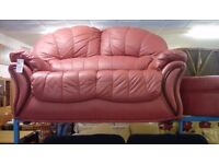Two Seat Leather Sofa and Footstool #30412 £89