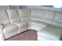 Leather Sofa Corner Suite Style in Cream with Chaise & Power Recliner