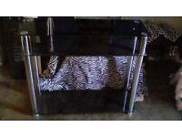 Black Glass Shelving Table - TV Stand