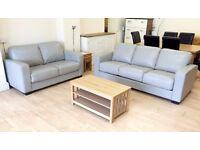 Grey Leather KING SIZE SOFA-BED SUITE (3 Seater Sofa / 5ft Bed + 2 Seater) + FREE LOCAL DELIVERY