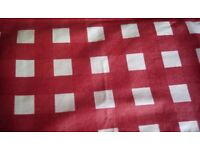 Red check cotton tablecloth with wipe clean surface