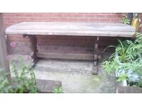 Large solid wood garden table