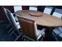 wooden extending table and chairs