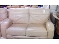Beige Leather 2 Seater Sofa and 1 Armchair #30468 £199