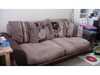 3 Seater Sofa, from SCS, coloured in mink and chocolate, Free to collect