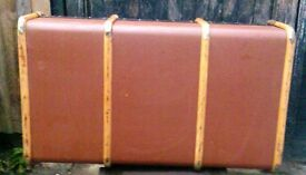 A VINTAGE, LARGE BAMBOO BANDED, INDUSTRIAL STEAMER TRUNK