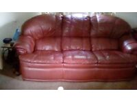 FREE three seater leather settee in burgundy