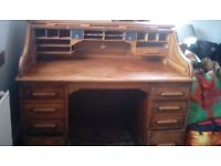 Antique roll top pine desk