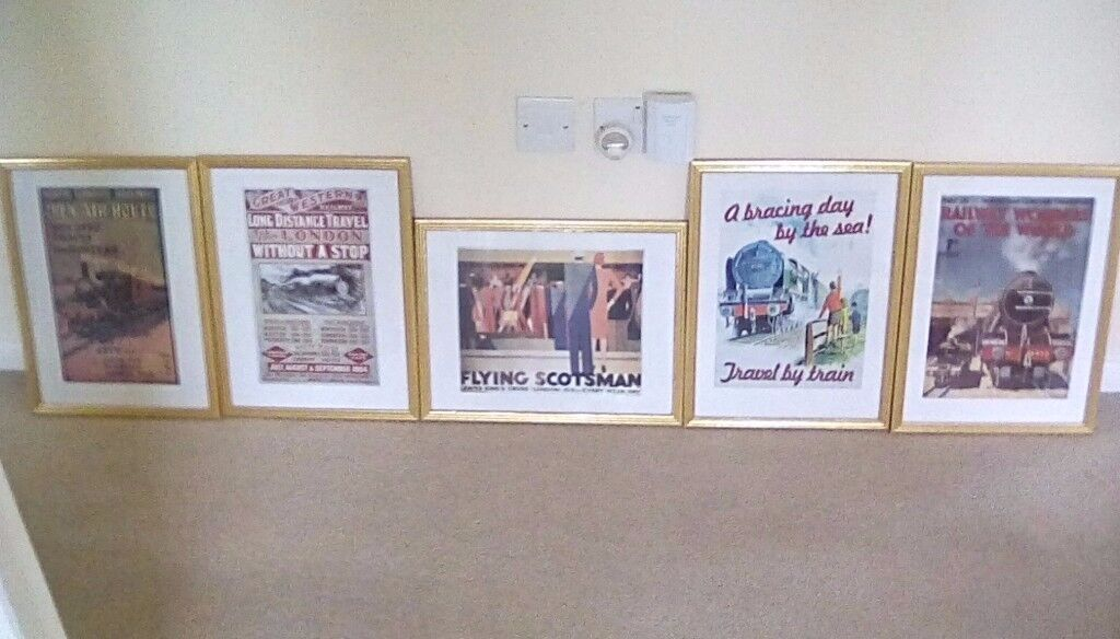Set of 5 framed vintage railway posters