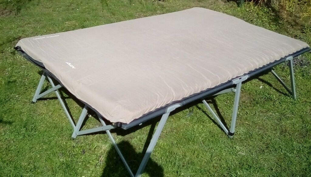 Double camp bed with self inflating mattress