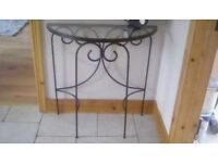 Black cast iron hall table