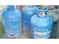 3 empty Calor gas cylinders 15kg butane