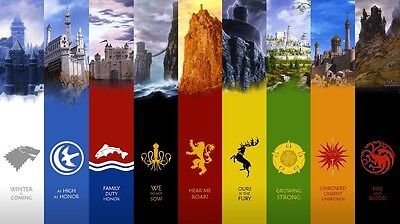Game Of Thrones Seven Kingdoms Map Fabric Art Cloth Poster 24X13   Decor 50