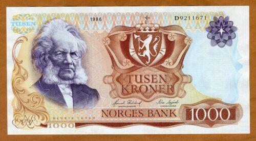 Norway, 1000 Kroner, 1986, P-40c, D-Prefix, Gem UNC
