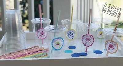 Set of 24- Personalized Baby Shark Birthday Party Cups Lids Straws- 12 or - 16 Oz Cups