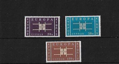CYPRUS SG234/6, 1963 (4 NOV) EUROPA MNH, CAT £17