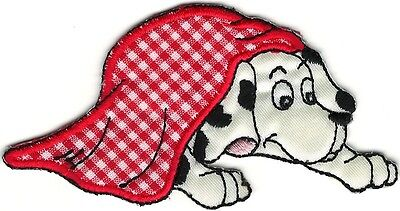 (Cartoon Dalmatian in Red Gingham Blanket Embroidery Patch)