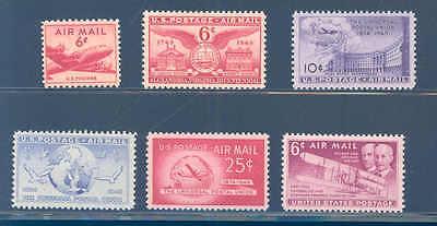 PKStamps - US - 1949 - Air Mail Year Set -  Set of 6 Singles -  MNH