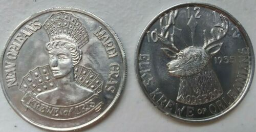 Lot of 2 Aluminum Mardi Gras Doubloons 1965 and 1996
