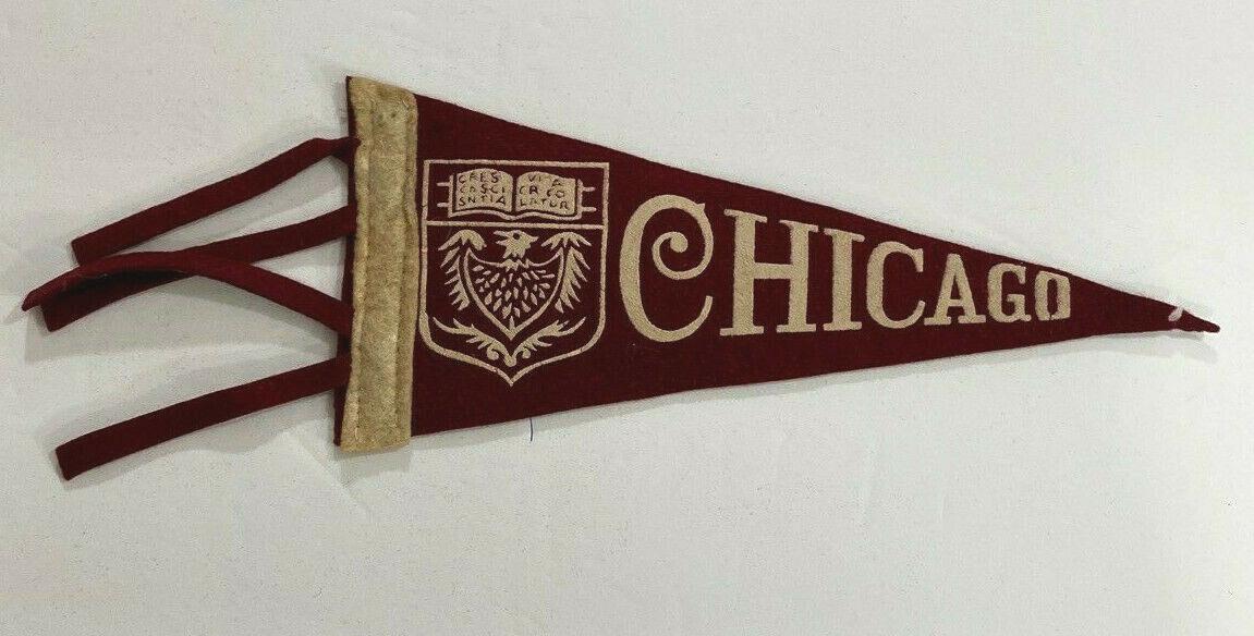 Vintage 1950's chicago university maroons college mini pennant