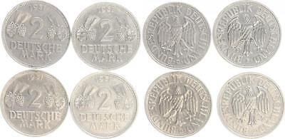 2 DM Kursmünzen 1951 DFGJ Ähren und Trauben Komplettsatz sehr schön-vorzüglich