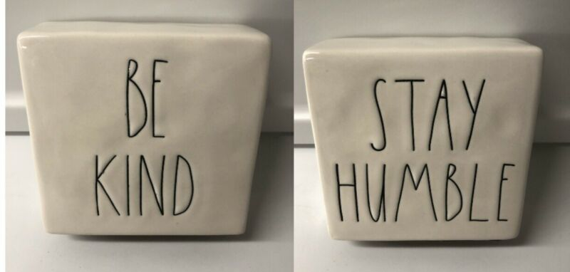 Rae Dunn Ceramic Stay Humble/Be Kind Double-Sided Motivation Paperweight 4x4x1.5