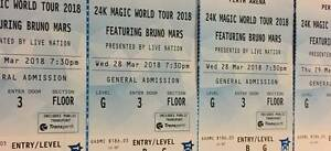 BRUNO MARS PERTH (GA GENERAL ADMISSION) TICKETS - WED 28 MARCH Perth Perth City Area Preview