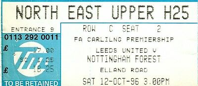 Ticket - Leeds United v Nottingham Forest 12.10.96
