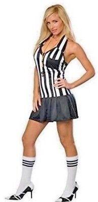 ❤️ I LOVE FOUL PLAY❤️ Sexy Referee Dress Halter Stripes Small Whistle Tube Socks