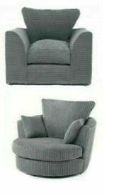 😍NEW GREY DYLAN JUMBO CORD SWIVEL CHAIR AND ARM CHAIR - 2 MAN FAST DELIVERY😍