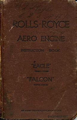 WW1 ROLLS ROYCE,  DERBY,  EAGLE AND FALCON AERO ENGINE INSTRUCTION MANUAL