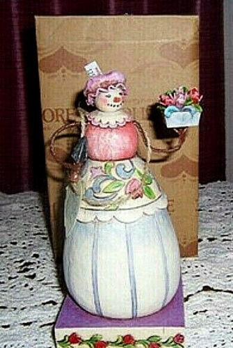 "Jim Shore NIB Winter Blossoms 4010358 Lady Snowman w/ Flowers 7"" Figurine 2008"
