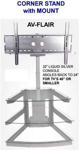 "CORNER TV STAND FOR TV'S 46"" OR SMALLER $110.00 SAVE $215"