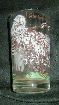 VINTAGE ARMOUR PEANUT BUTTER ADVERTISING COLLECTOR GLASS, COVERED WAGON, WESTERN