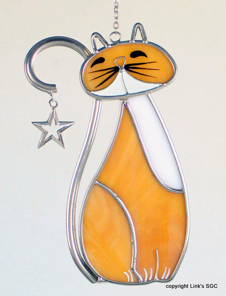 Stained Glass Amber Country Cat Sun Catcher