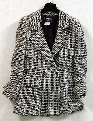 Rare Exquisite CHANEL 01A Brown Tweed Coat Jacket , Used36 /40-42